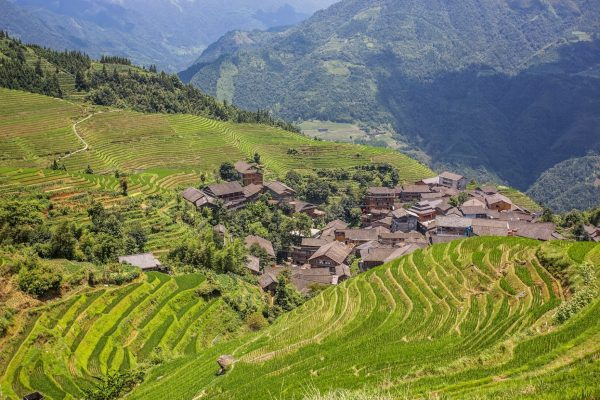 Трек из ТианТоу в ПинАн, рисовые террасы, Китай